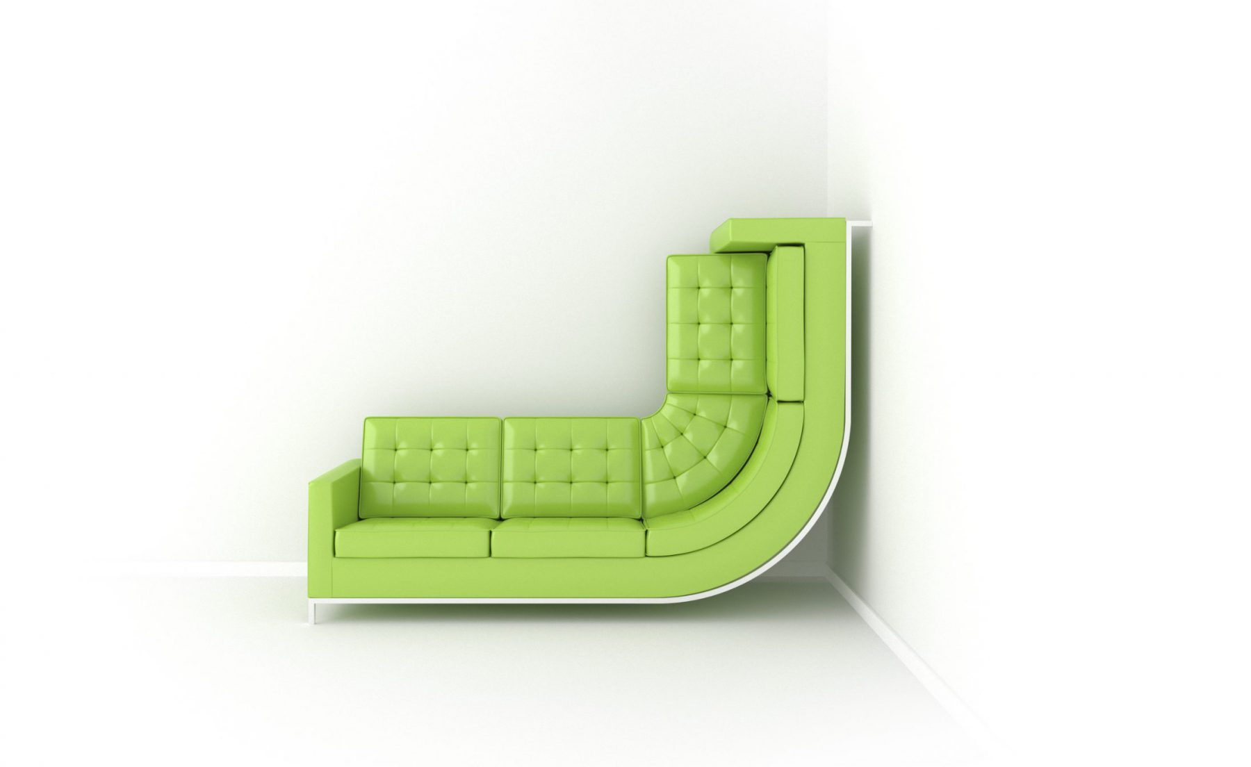 Render Sofá verde trepando